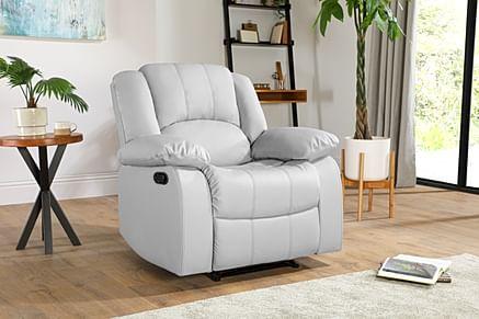 Dakota Light Grey Leather Recliner Armchair