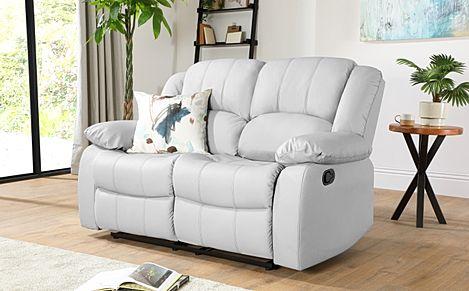 Dakota Light Grey Leather 2 Seater Recliner Sofa