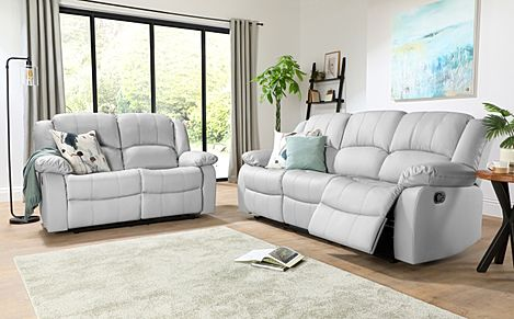 Dakota Light Grey Leather 3+2 Seater Recliner Sofa Set