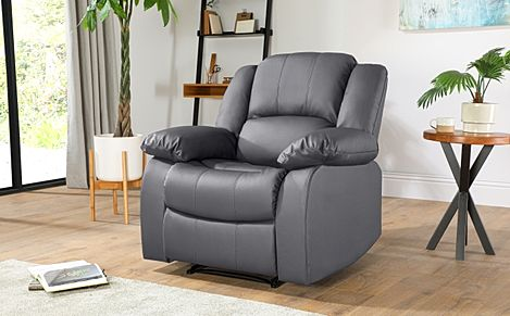 Dakota Grey Leather Recliner Armchair