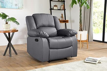 Dakota Grey Leather Recliner Armchair
