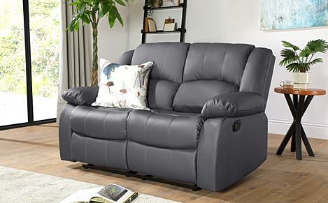 Dakota Grey Leather 2 Seater Recliner Sofa