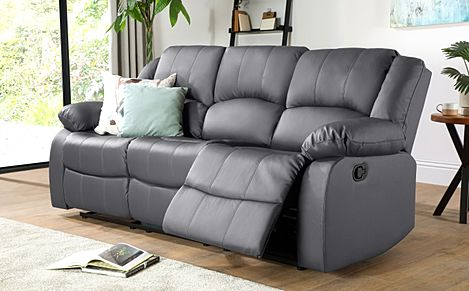 Dakota Grey Leather 3 Seater Recliner Sofa
