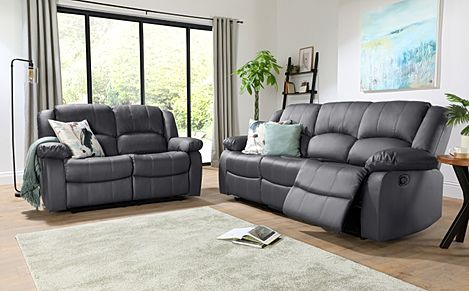 Dakota Grey Leather 3+2 Seater Recliner Sofa Set