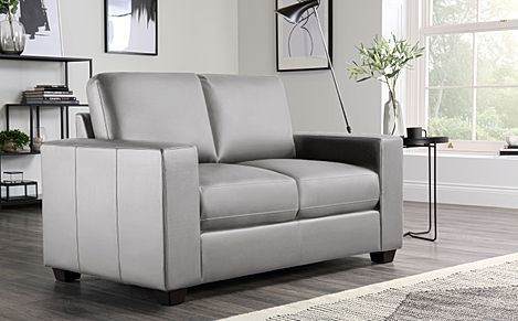 Mission Light Grey Leather 2 Seater Sofa