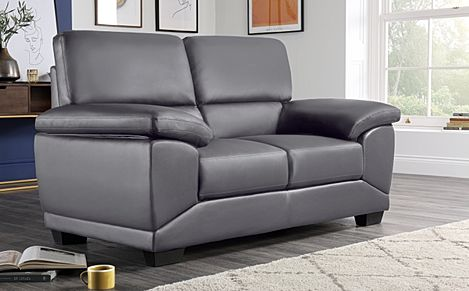 Oregon Grey Leather 2 Seater Sofa