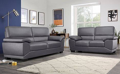 Oregon Grey Leather 3+2 Seater Sofa Set