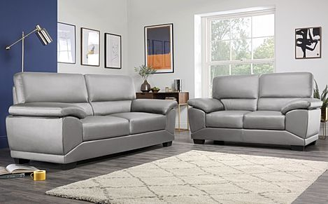 Oregon Light Grey Leather 3+2 Seater Sofa Set