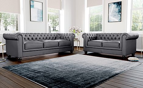 Hampton Grey Leather 3+2 Seater Chesterfield Sofa Set
