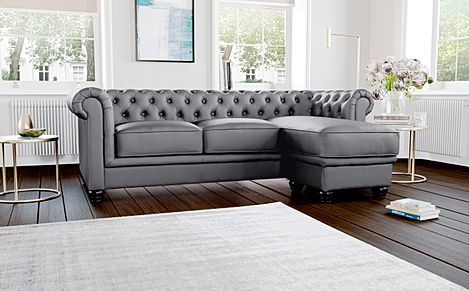 Hampton Grey Leather L Shape Chesterfield Corner Sofa