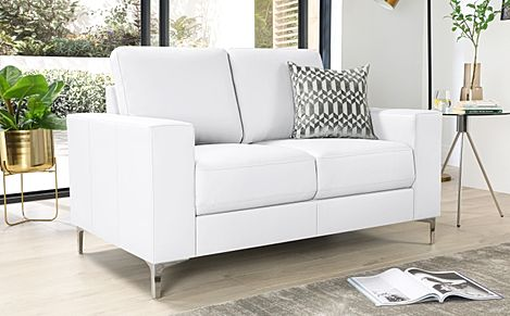 Baltimore White Leather 2 Seater Sofa
