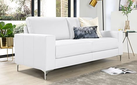 Baltimore White Leather 3 Seater Sofa