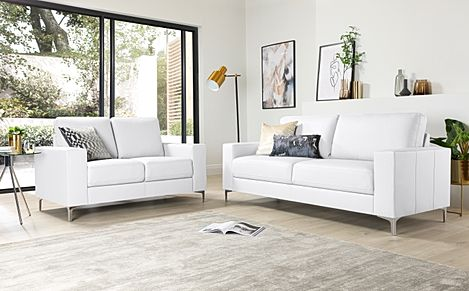 Baltimore White Leather 3+2 Seater Sofa Set