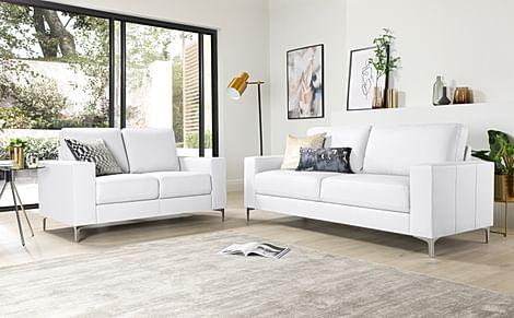 Baltimore White Leather 3+2 Seater Sofa Set