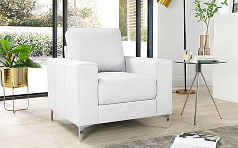 Baltimore White Leather Armchair