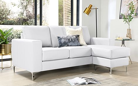 Baltimore White Leather L Shape Corner Sofa