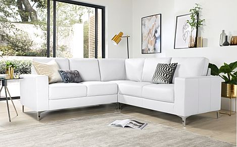 Baltimore White Leather Corner Sofa