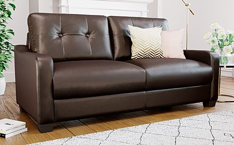 Belmont Brown Leather 3 Seater Sofa