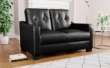 Belmont Black Leather 2 Seater Sofa