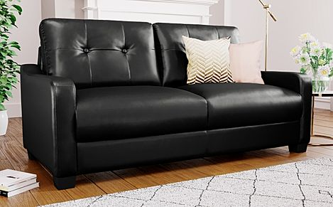 Belmont Black Leather 3 Seater Sofa