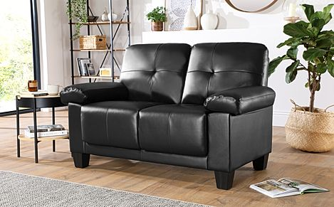 Linton Small Black Leather 2 Seater Sofa
