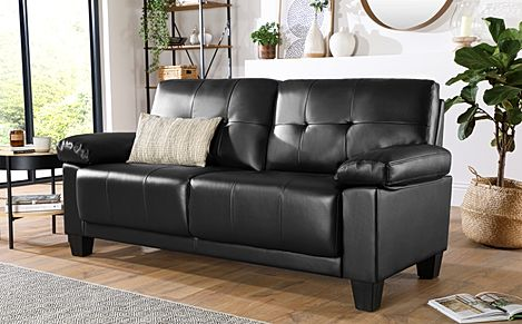Linton Small Black Leather 3 Seater Sofa