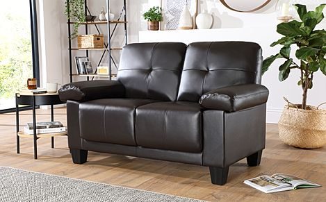 Linton Small Brown Leather 2 Seater Sofa
