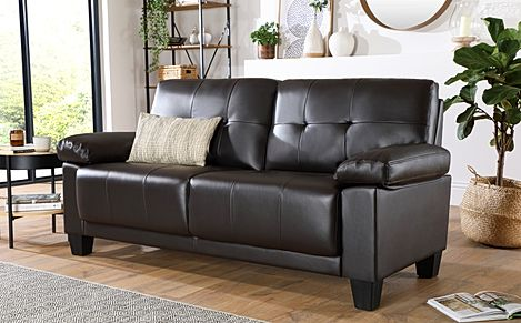 Linton Small Brown Leather 3 Seater Sofa