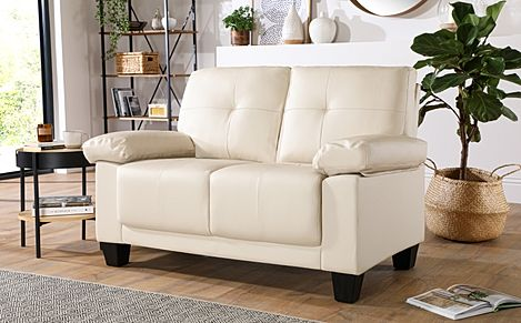 Linton Small Ivory Leather 2 Seater Sofa