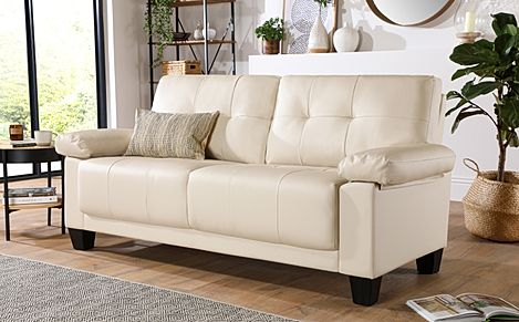 Linton Small Ivory Leather 3 Seater Sofa