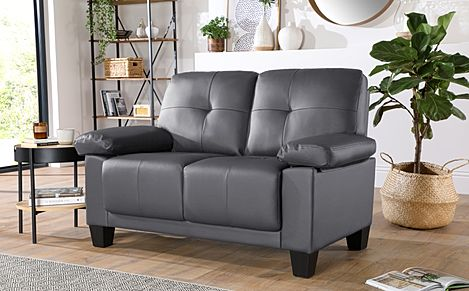 Linton Small Grey Leather 2 Seater Sofa