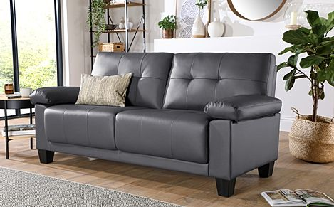 Linton Small Grey Leather 3 Seater Sofa