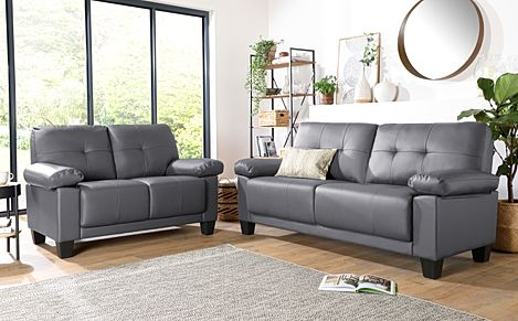 Linton Small Grey Leather 3+2 Seater Sofa Set