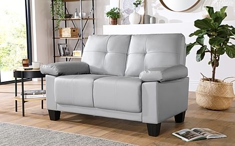 Linton Small Light Grey Leather 2 Seater Sofa