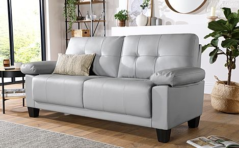 Linton Small Light Grey Leather 3 Seater Sofa
