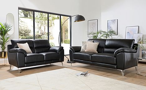 Madrid Black Leather 3+2 Seater Sofa Set