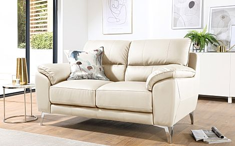 Madrid Ivory Leather 2 Seater Sofa