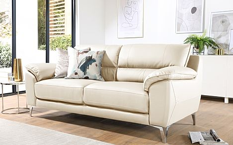 Madrid Ivory Leather 3 Seater Sofa