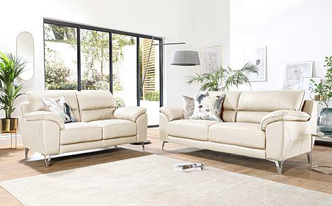 Madrid Ivory Leather 3+2 Seater Sofa Set