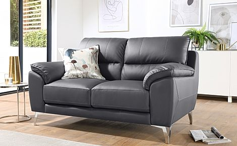 Madrid Grey Leather 2 Seater Sofa