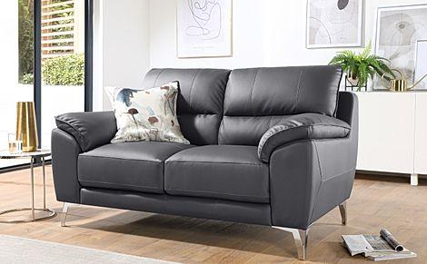Madrid Grey Leather 2 Seater Sofa