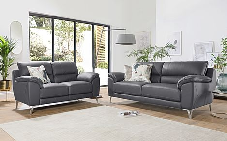 Madrid Grey Leather 3+2 Seater Sofa Set