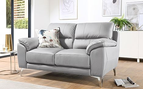 Madrid Light Grey Leather 2 Seater Sofa