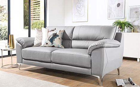 Madrid Light Grey Leather 3 Seater Sofa