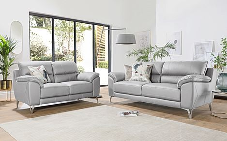Madrid Light Grey Leather 3+2 Seater Sofa Set