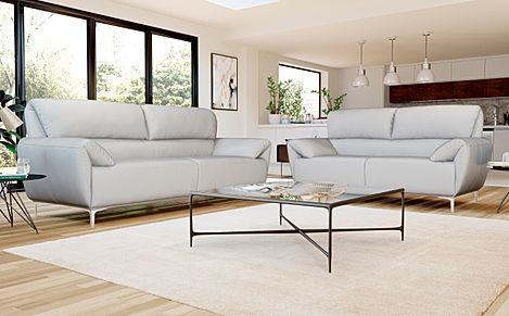 Enzo Light Grey Leather 3+2 Seater Sofa Set
