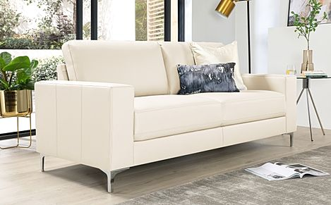 Baltimore Ivory Leather 3 Seater Sofa