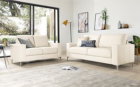 Baltimore Ivory Leather 3+2 Seater Sofa Set