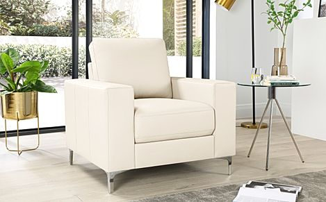 Baltimore Ivory Leather Armchair