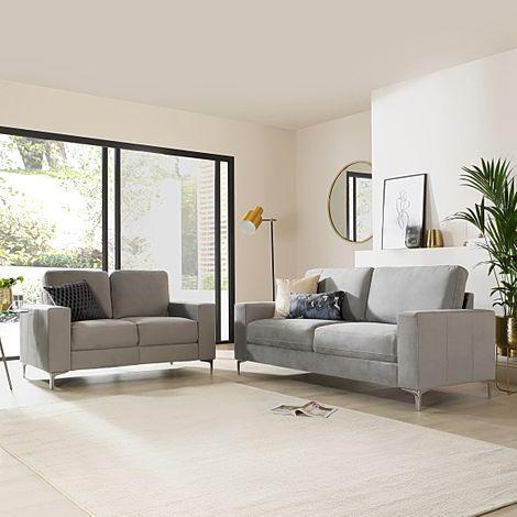 Baltimore Grey Velvet 3+2 Seater Sofa Set